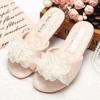Girls Slippers 2018 Fashion Design Casual Beach Slippers Kids Shoes Sandal Summer Slides Princess Sweet Flower Children Slippers