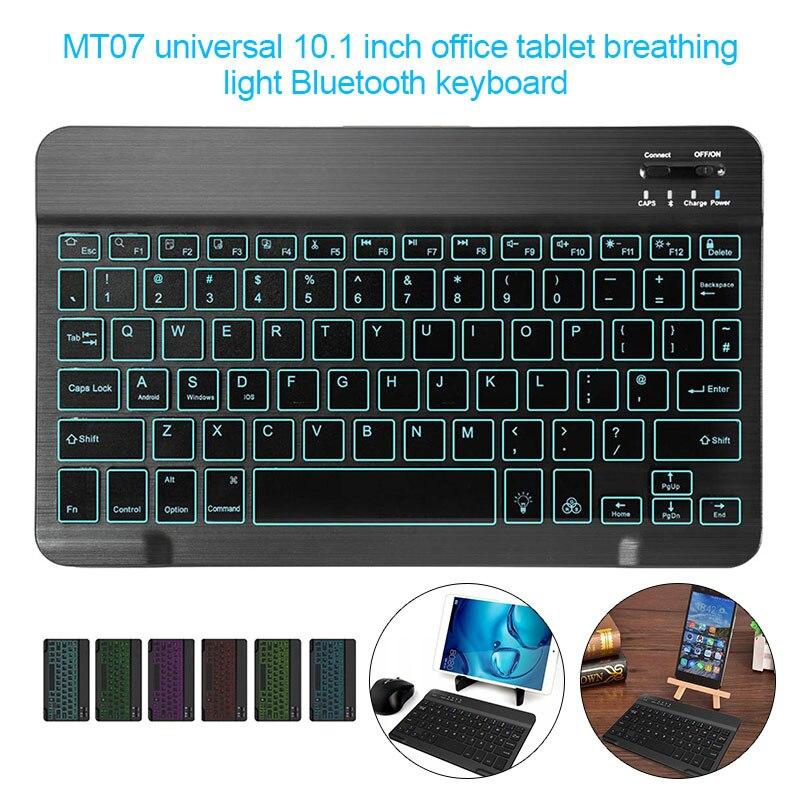 Teclado Bluetooth retroiluminado de 10,1 pulgadas teclado Ultra ligero delgado de 7 colores para tableta portátil EM88
