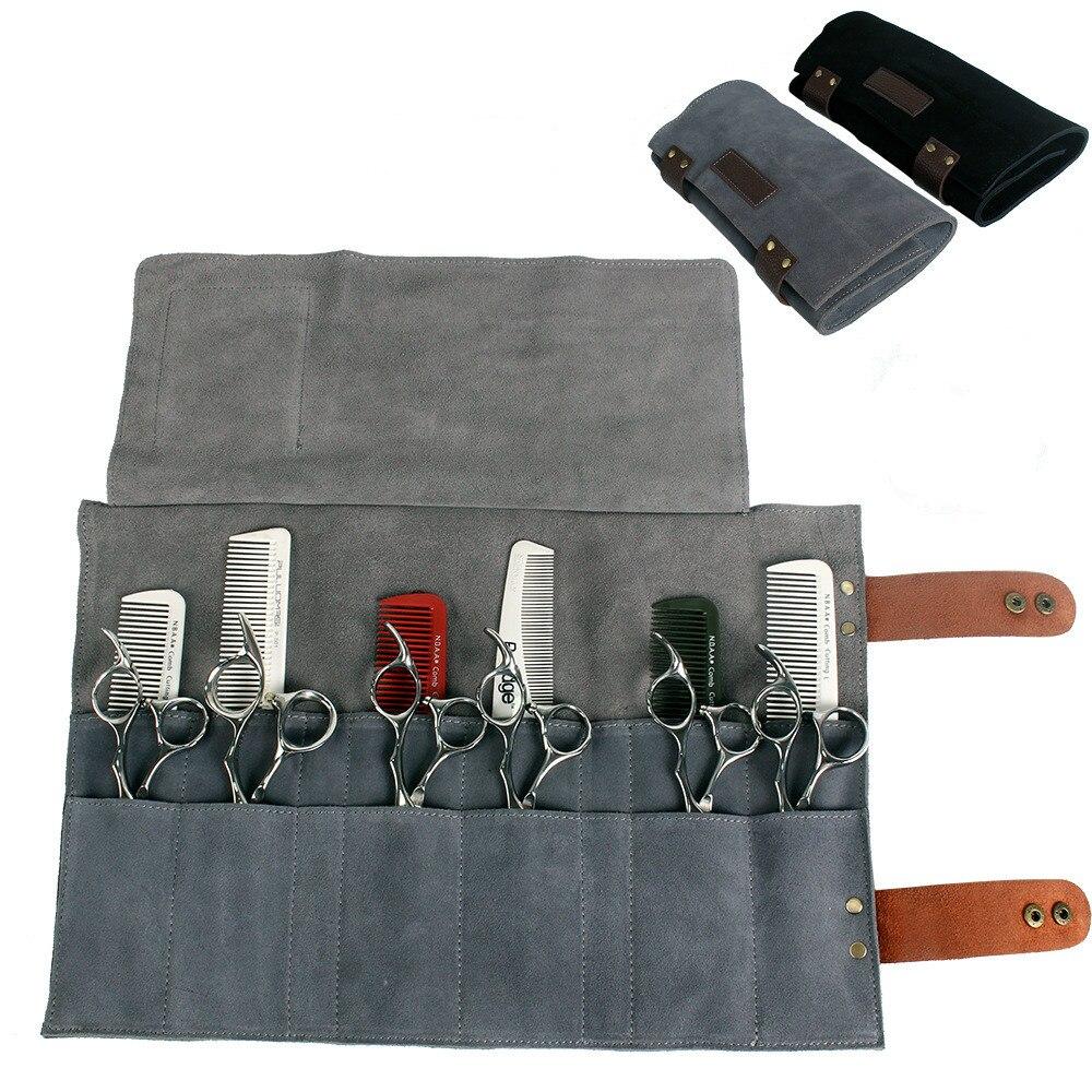 Real Leather Hair Stylist Professional Barber Scissor Pouch Cases Salon Hairdresser Scissors Tool Holster Folding Bag 12 Pockets
