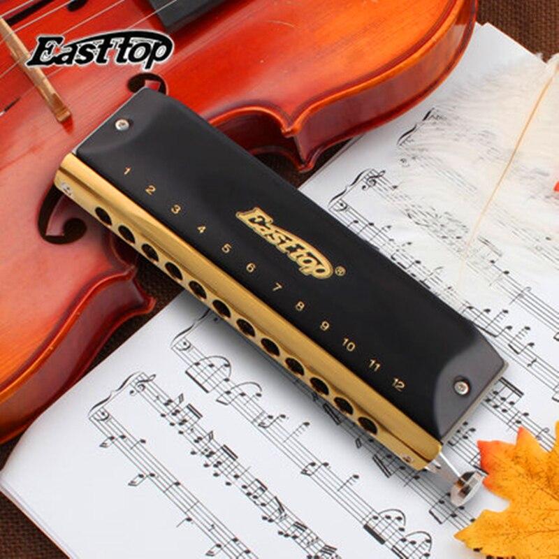 Easttop Harmonica chromatique ABS peigne 12 trous 48 tons C clé professionnelle Armonica Cromatica bouche Ogan bois Instrument de musique