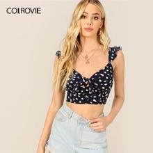 COLROVIE Navy Knot Front Ruffle Trim Bloemenprint Boho Tank Crop Top Vrouwen Shirts 2019 Zomer Koreaanse Stijl Vakantie Cami t-shirt