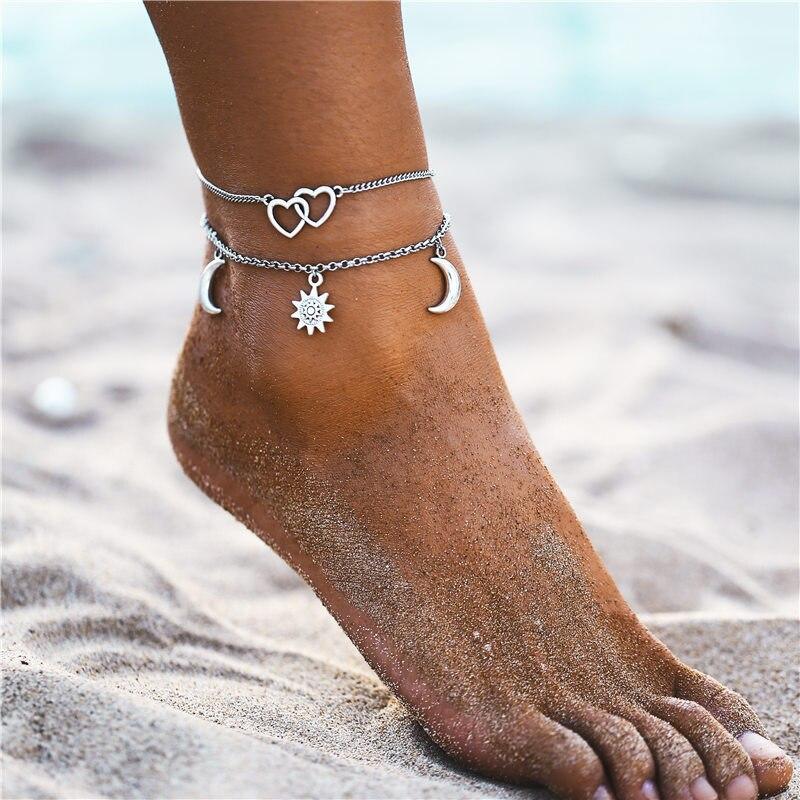 WENN MICH Bohemian Multilayer Fußkettchen Für Frauen Mädchen Vintage Silber Farbe Mond Sonne Strand Anhänger Knöchel Armband auf Bein Fuß schmuck