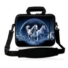 """Horse 15 Inch Neoprene Laptop Carrying Bag Sleeve Case Cover w/Side Pocket +Shoulder Strap Handbag For 15"""" 15.4"""" 15.6"""" Laptop"""