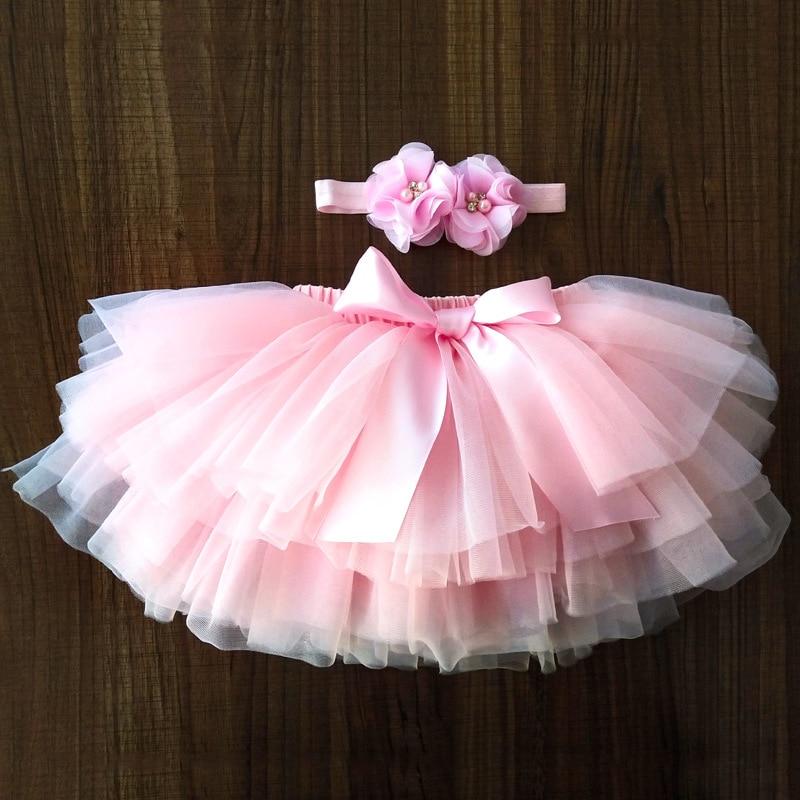 Baby Girls Tulle Tutu Bloomers Infant Newborn Diapers Cover 2pcs Short Skirts+Headband Set Girls Ski