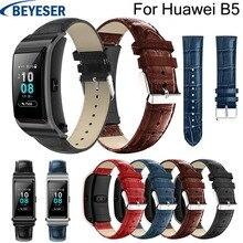 18mm wrist strap for Huawei B5 Leather watchband Crocodile Grain pattern bracelet watchstrap for Huawei B5 replacement wristbelt