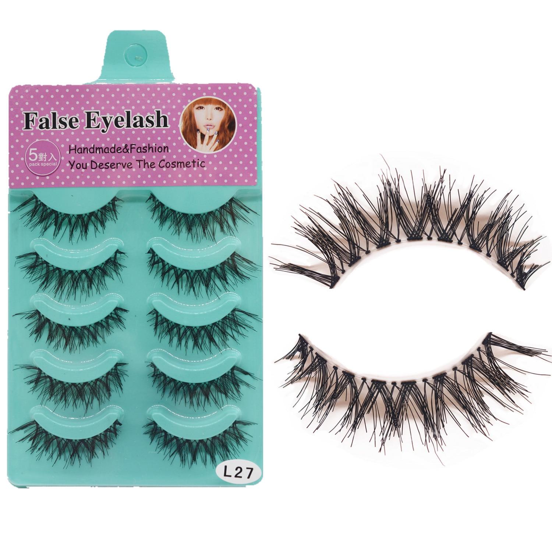 5 Pairs Eyelashes Clear Band Mink Lashes Soft Natural Long Cross Fake Eye Lashes Thick False Eyelashes Extension Makeup Tools