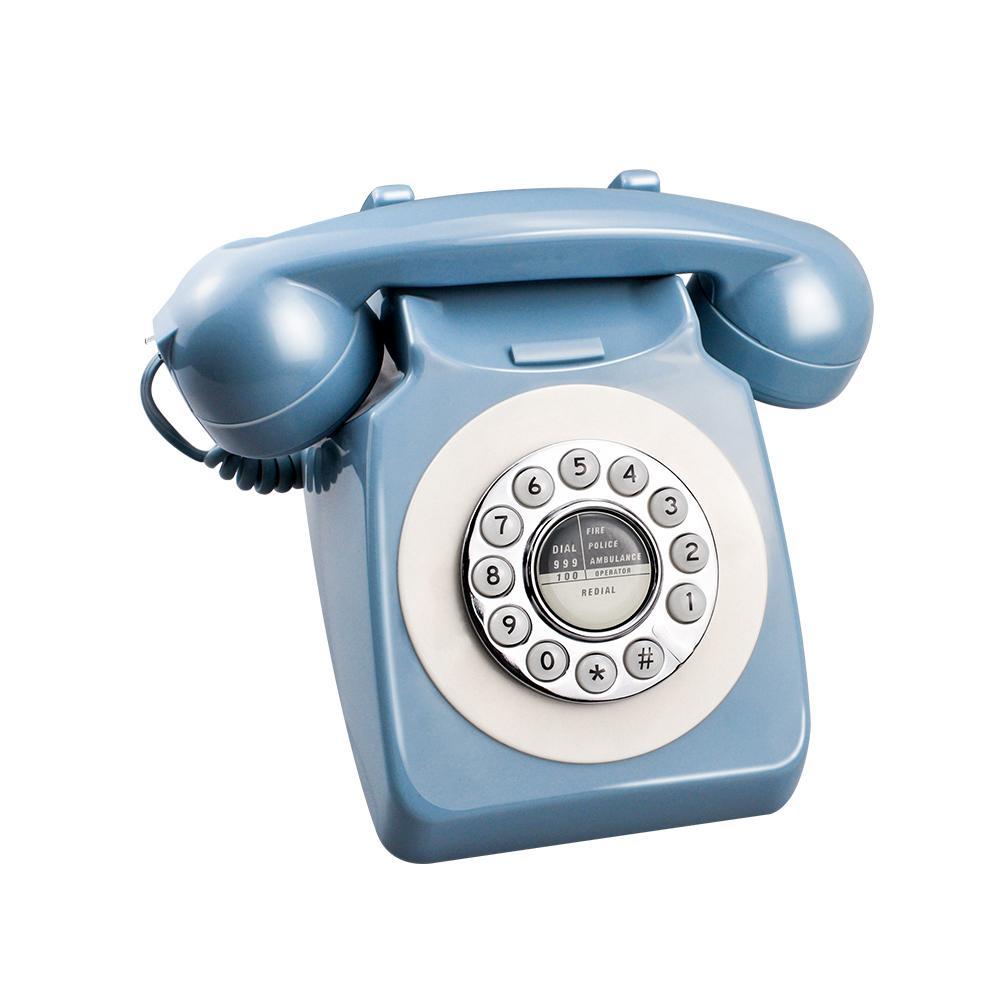 Blue Retro Telephone Europe America Telephone Landline Turntable Telephone Button Dial - Up Hotel Phone