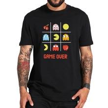 Ab boyutu % 100% pamuklu oyun üzerinde klasik resmi Pacman Retro oyun yaz siyah kısa kollu tişört