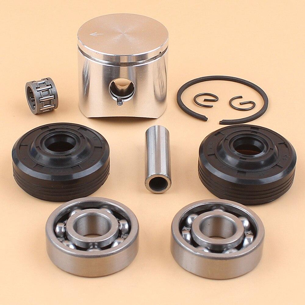 Juego de juntas de aceite de Cojinete de bolas de manivela de anillo de pistón de 38mm compatible con piezas de motor de motosierra HUSQVARNA 36 136 136LE 137 137e