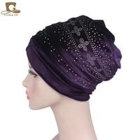 new fashion luxury women velvet turban headband diamante extra long velvet turban head wraps hijab head scarf turbante