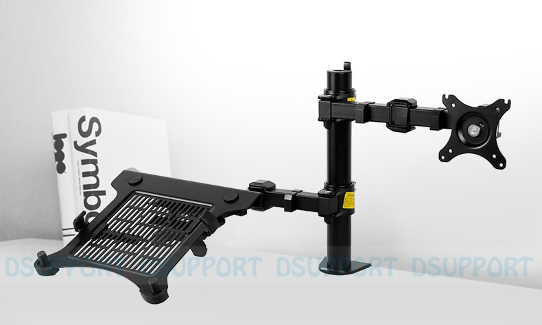 """Soporte de escritorio D1F2 para movimiento completo de 10 """"-15,6"""", soporte de portátil y soporte de escritorio para Monitor LCD de 10 """"-27"""", soporte máximo de 10KG por brazo"""