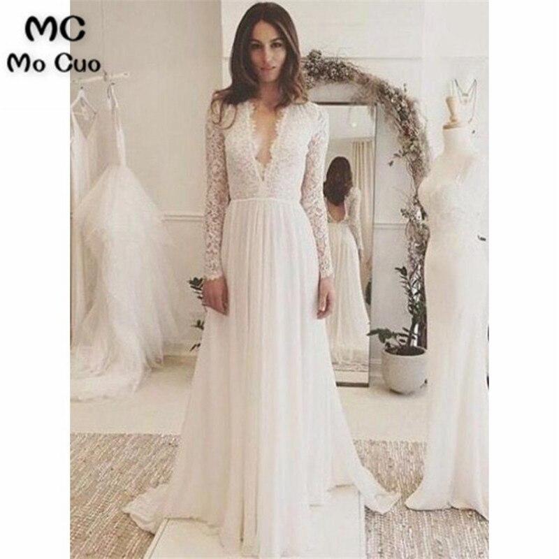 2019 vestidos de casamento de renda vestidos longos de noiva profundo v-neck vestido de casamento de manga longa chiffon varredura trainwedding vestidos