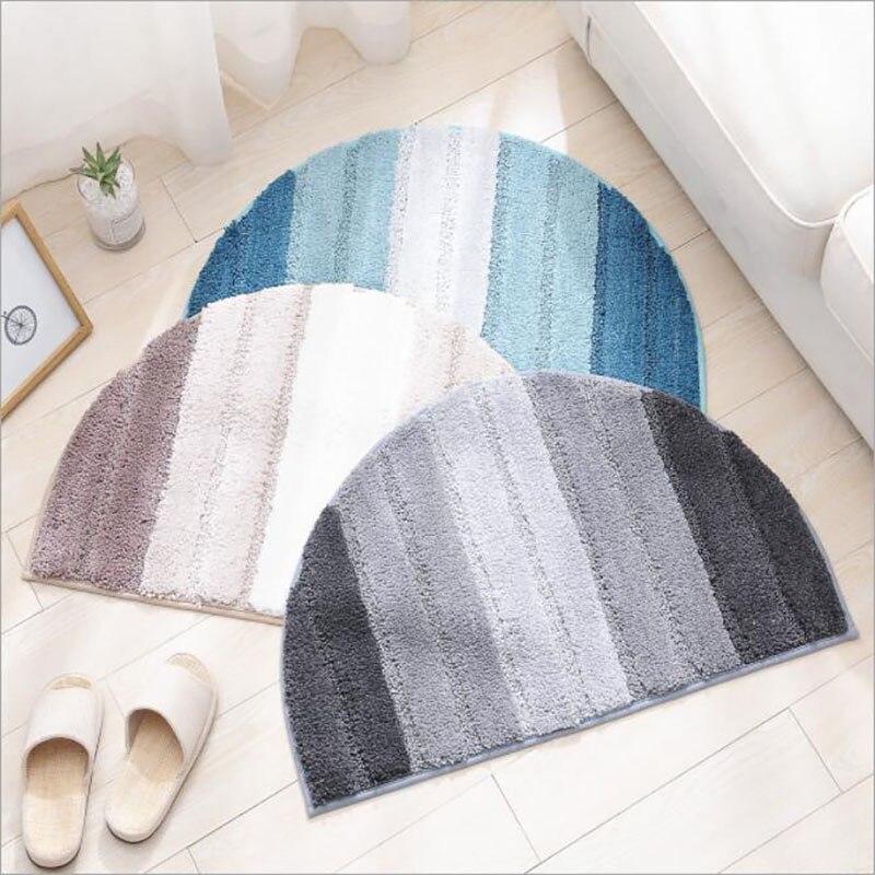 Meio Círculo Suave Microfibra Shaggy Chuveiro Tapete De Banho Azul Cinza Listrado Não-slip Durável Absorvente Quarto Tapete Tapete de Área porta Mat