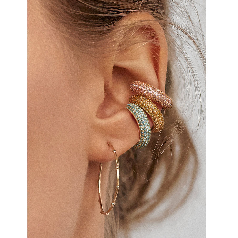HUIDANG joyería de moda Bijoux para las mujeres pavimentar el cristal Jeweled Mini Ear Cuff Metal Hoop Earring