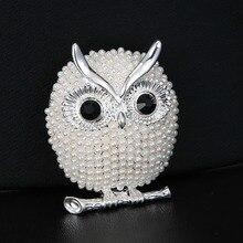 Rinhoo perle broches hibou animaux broches pour femmes fête accessoires mariage décoration bijoux broche