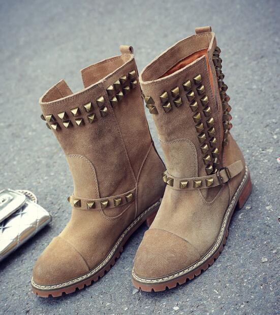 flat boots woman Retro Rivet Boots Women's Leather Flat Boots suede leather flat woman ankle boots