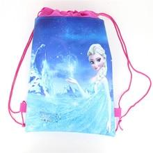Lot Disney Theme Freezing Anna Elsa Snow Queen Movie  Frozen Bag Non-woven Drawstring Bags School Bag Shopping Bag 1pcs