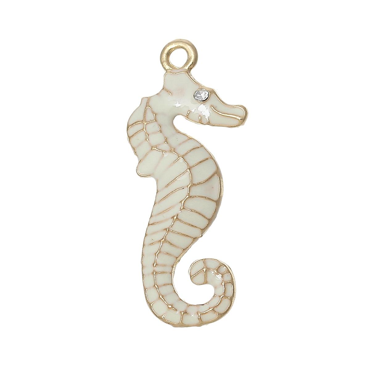 "8SEASONS Charm Pendants Seahorse Gold color Clear Rhinestone White Enamel 31mm(1 2/8"") x 13mm( 4/8""),5 Pcs"