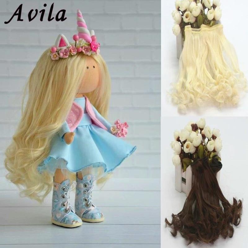 Волнистый парик «сделай сам», черные, золотые, выдувные, цвета хаки, волнистые волосы на парике, груша, волнистые волосы для кукол, аксессуары, Рождественская игрушка