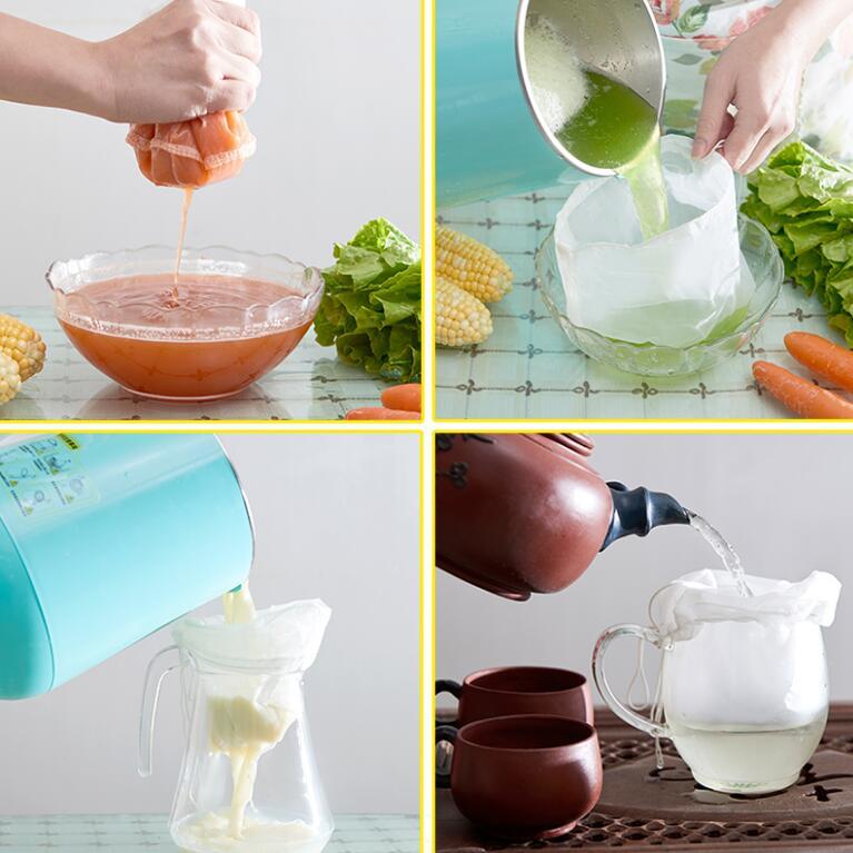 Frutos secos leche frutas vegetales sello bolsas de té reutilizables almendra comercial malla fina de nailon alimentos colador queso Maker Filtro de té y café