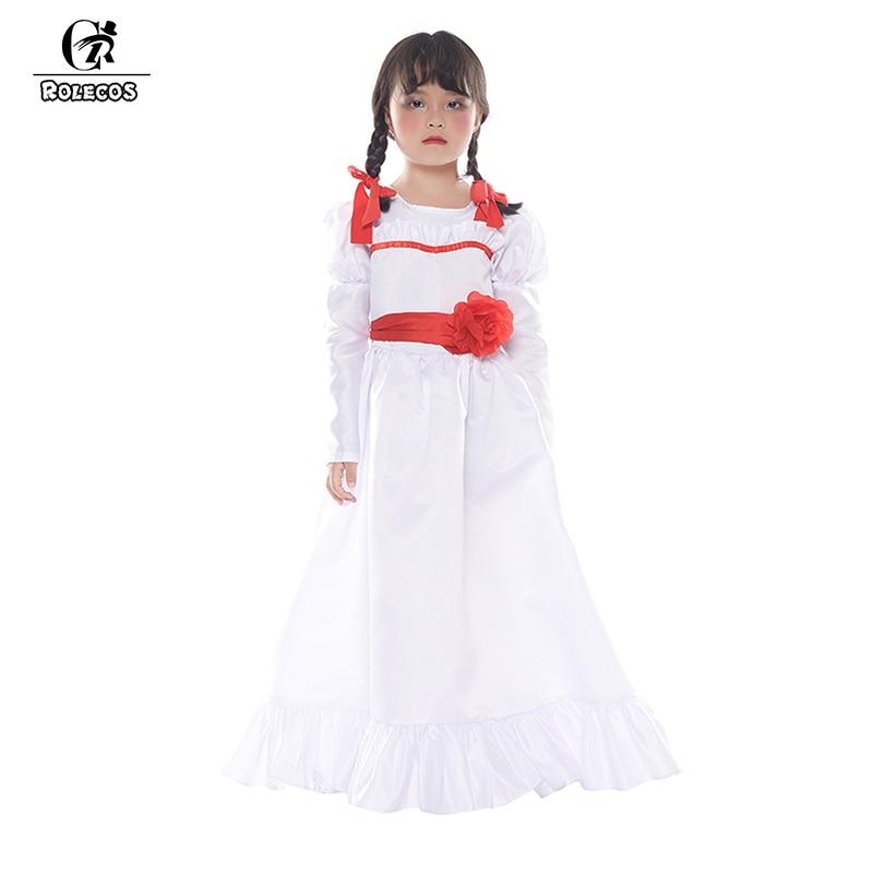 ROLECOS Ghost Doll Annabelle kostium cosplay na halloween Annabell kostium biała długa sukienka dla dzieci kostium cosplay na halloween