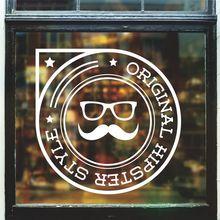 CHM-Pared Sticker tijera salon de belleza tatuajes de pared extraible peluqueria ventana peluqueria bigote diseNo del arte Mura 2