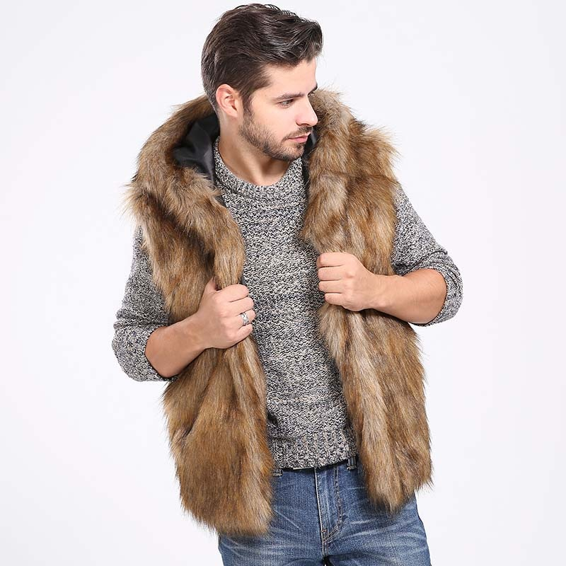 Invierno grueso cálido Chaleco de piel sintética peluda con capucha chalecos sin mangas bolsillo chaqueta de abrigo exterior de talla grande 2X 7Q2141