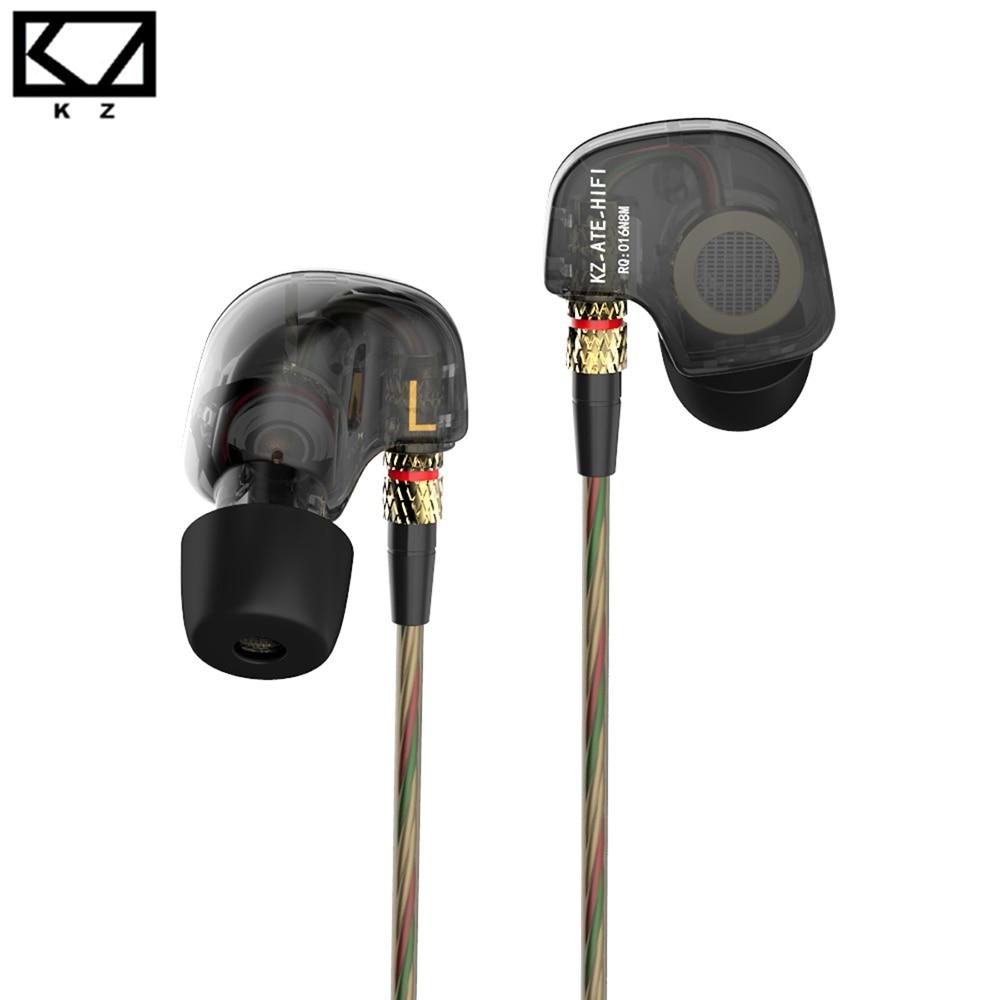 Kz ate 3.5mm no ouvido fone de ouvido alta fidelidade metal auriculares com cancelamento ruído esporte música fones super baixo fone ouvido