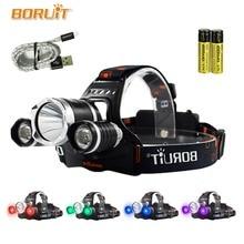BORUIT UV 5000Lm T6 LED phare 3 Modes haute puissance phare violet lumière pour Camping pêche 18650 batterie tête torche 4 couleurs