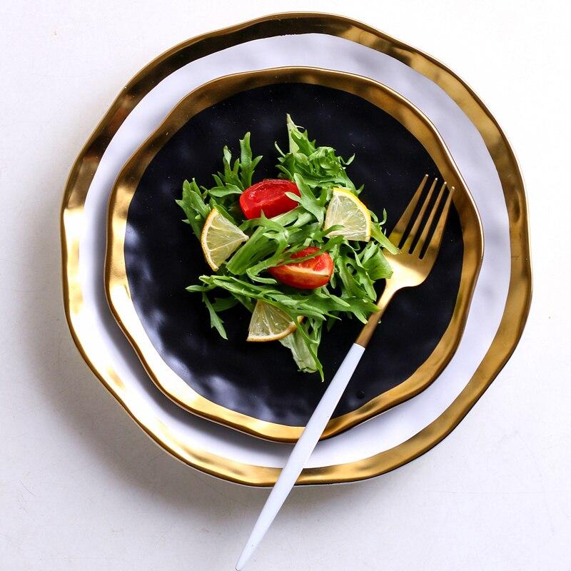 أبيض وأسود السيراميك الغربية لوحة طبق الإبداعية الرجعية الذهبي حافة الإفطار لوحة المنزل مطعم طبق ستيك طبق تقديم الحلوى