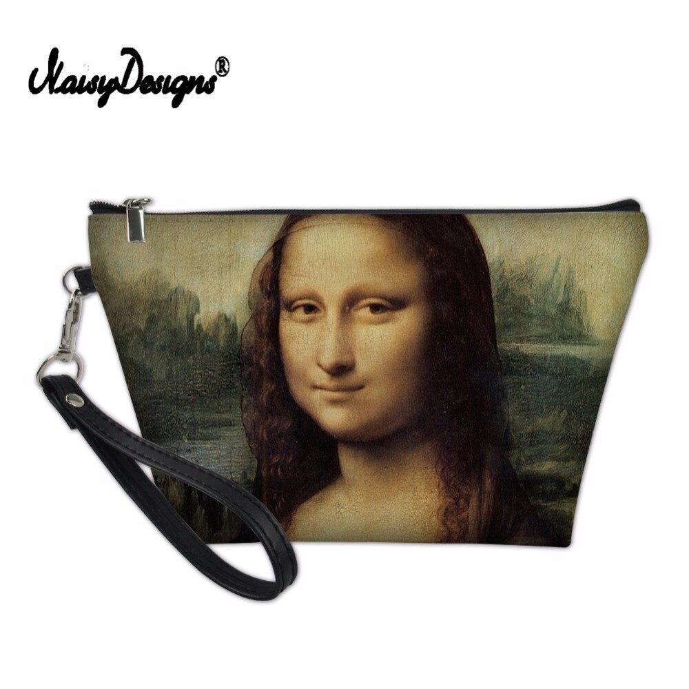 Noisydesigns famosa mona lisa van gogh pintura feminina saco de maquiagem couro do plutônio senhoras organizador caso cosmético personalizado saco para meninas