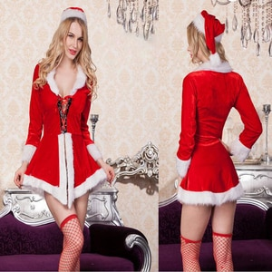 Women Sexy Christmas Costumes Fantasias Femininas Cardigan Christ Dress Korean Style Deguisement Disfraces Round Callor T1429