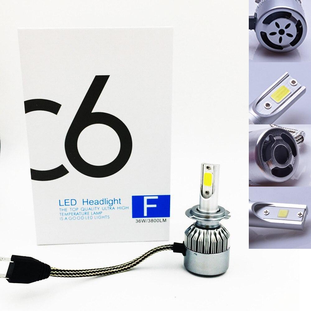 2x frete grátis, mais barato c6 h7 72 w 7600lm kit auto lâmpada luzes, lâmpada led branco