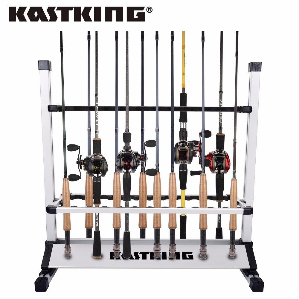 KastKing Ultraleicht Angelruten Halter Tragbare Aluminium 24 Angelrute Racks Groß für Die Speicherung Angeln Pole auf Boot, zu Hause