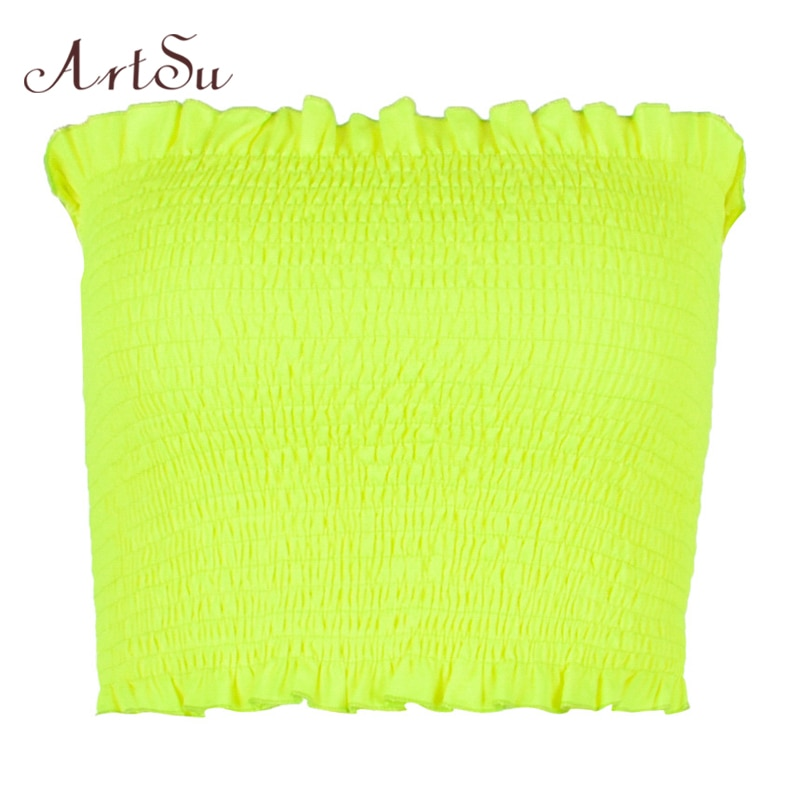 ArtSu Ruffle Neon Crop Top 2019 Camis Strapless Off Shoulder Top Backless Sexy Tops Streetwear Basic Cami Top Orange ASVE20540
