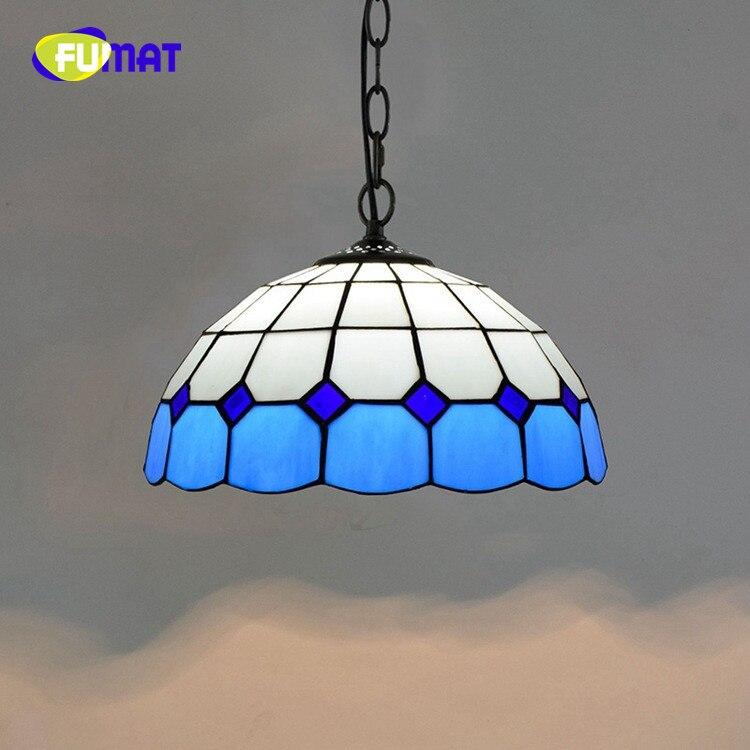 FUMAT Mediterráneo moderno europeo creativo Tiffany vitral azul/Verde sala comedor candelabro de habitación 30CM