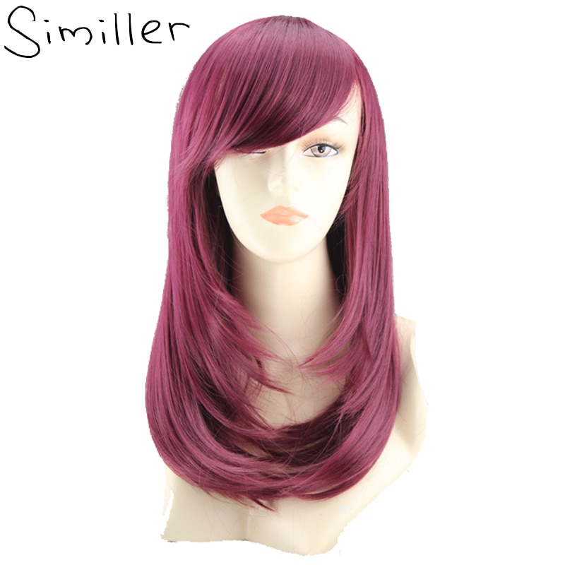 Similler 20 Inches Long Wine Red Cosplay Wigs Straight With Side Bang Synthetic Hair For Party