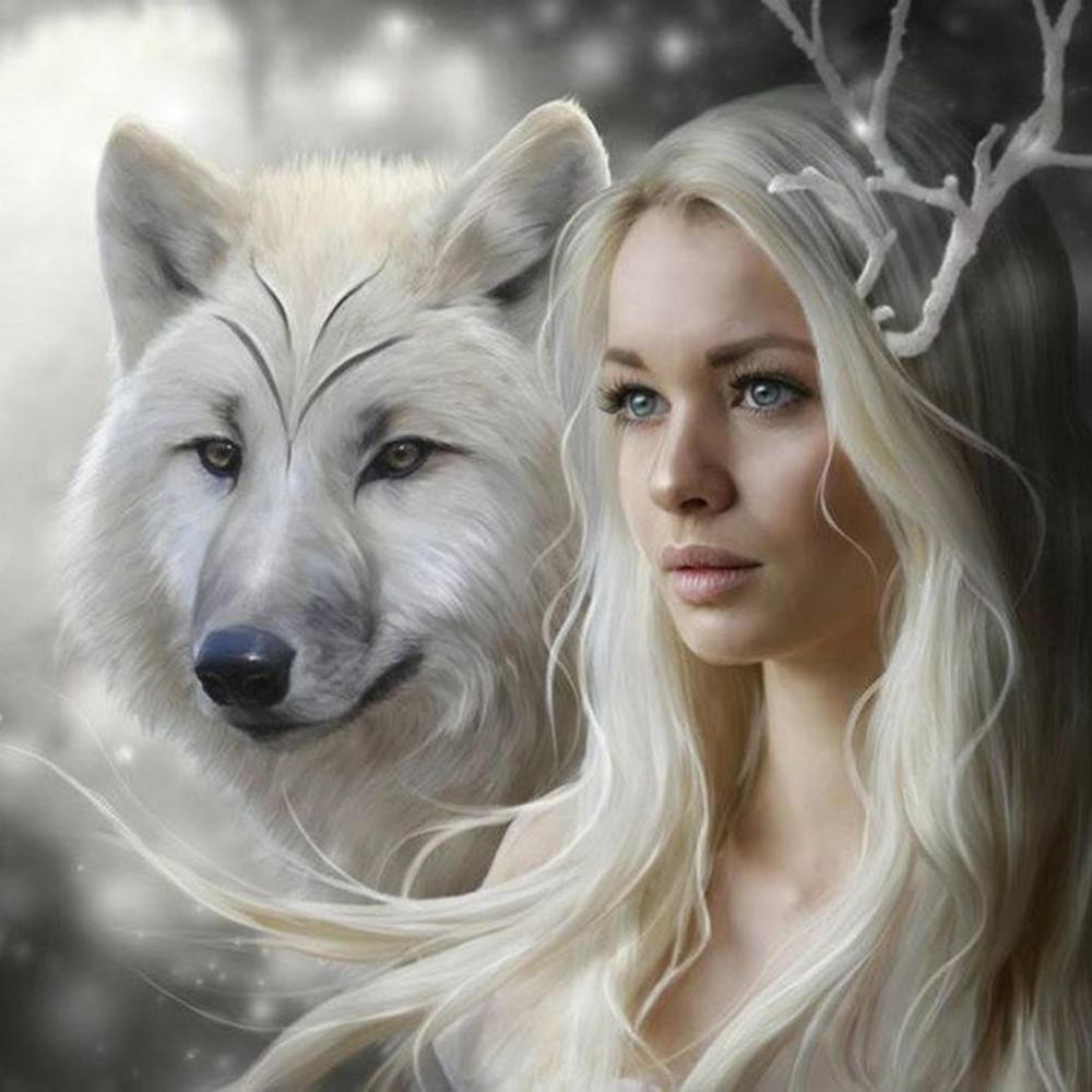 DIY 5D Diamond Painting landscape Wolf girl Cross Stitch Mosaic diamond embroidery Needlework Patterns Rhinestone paintings