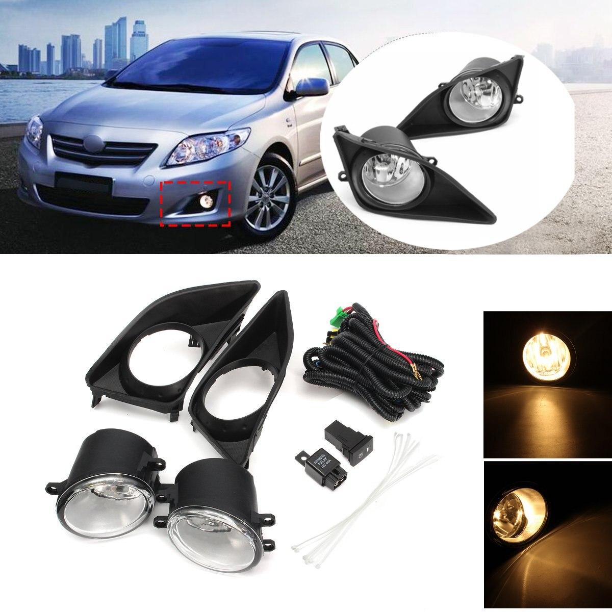 2 uds. Luces antiniebla izquierda derecha parachoques delantero lámpara + cubiertas de rejilla negra interruptor H11 bombillas para Toyota Corolla 2008 2009 2010