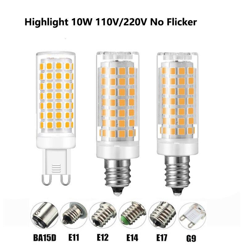 لا وميض G9 E12 E14 E17 BA15D LED مصباح AC110V 220V 88LED 2835 10W LED لمبة الثريا أدى ضوء استبدال الهالوجين مصباح 10 قطعة/الوحدة