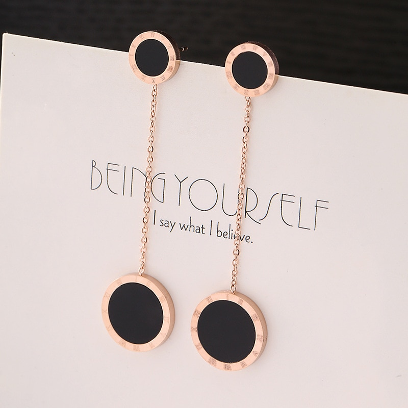 60mm Long Earrings for Women Jewelry Trendy Rose Gold-color Stainless Steel Femme Dangle Earrings Brincos Femininos
