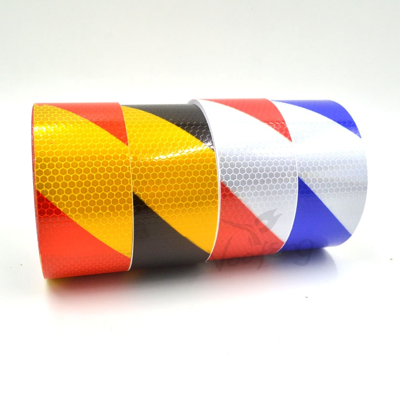 2017 newest red white black colors mountain 5cmx10m Reflective Warning Tape Self Adhesive Sticker with Red/White Yellow/Red Yellow/Black Blue/White Color for Car& Motor