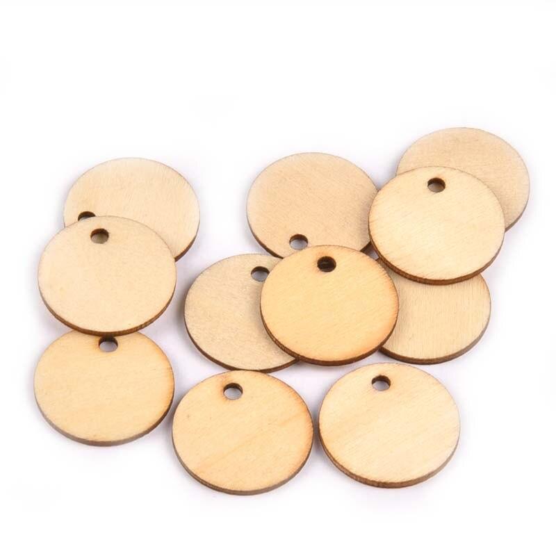 50 unids/set artesanía de madera 1 Agujero forma redonda DIY artesanía de madera Scrapbookings accesorios de adorno para el hogar al por mayor M1550
