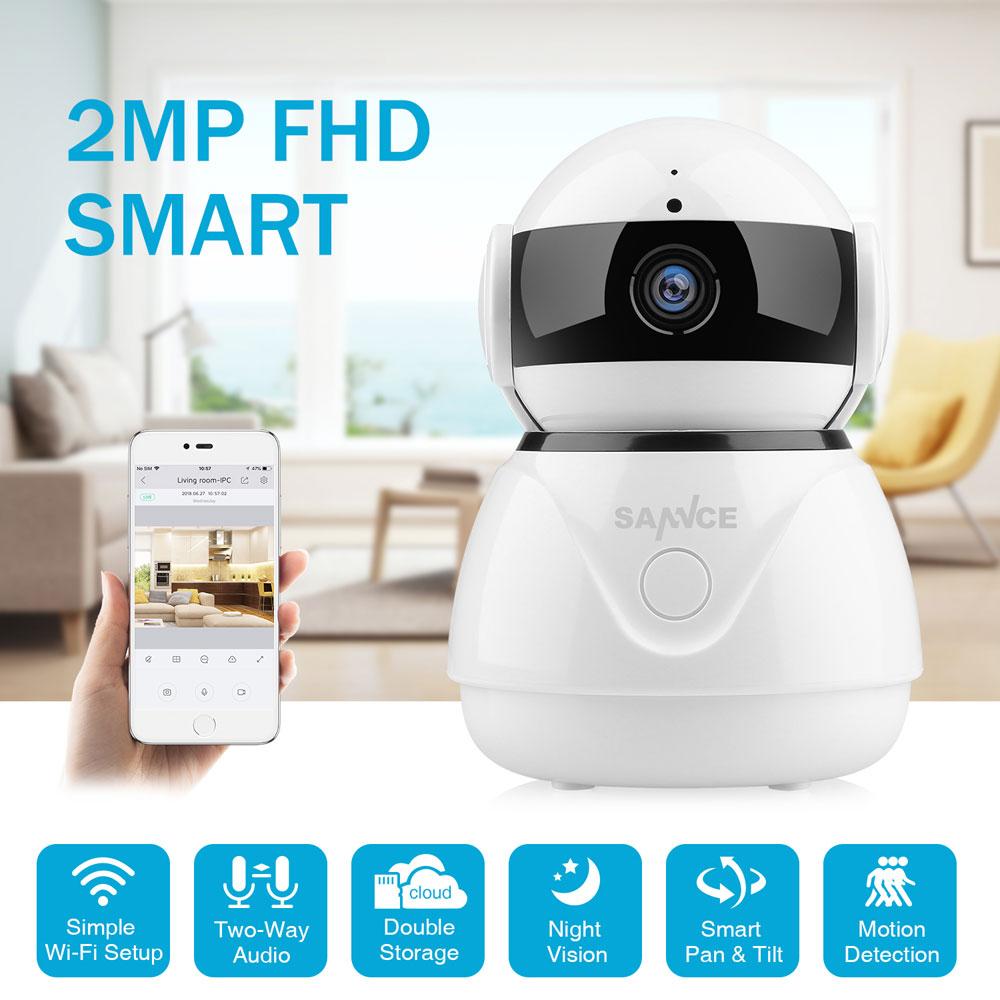 SANNCE-كاميرا مراقبة لاسلكية صغيرة IP Wifi HD 1080P ، جهاز أمان منزلي ، مراقبة الطفل ، مع رؤية ليلية IRCut