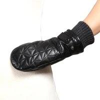 women genuine leather gloves female autumn winter plush lined 100 lambskin leather fingerless mittens l155ny 1