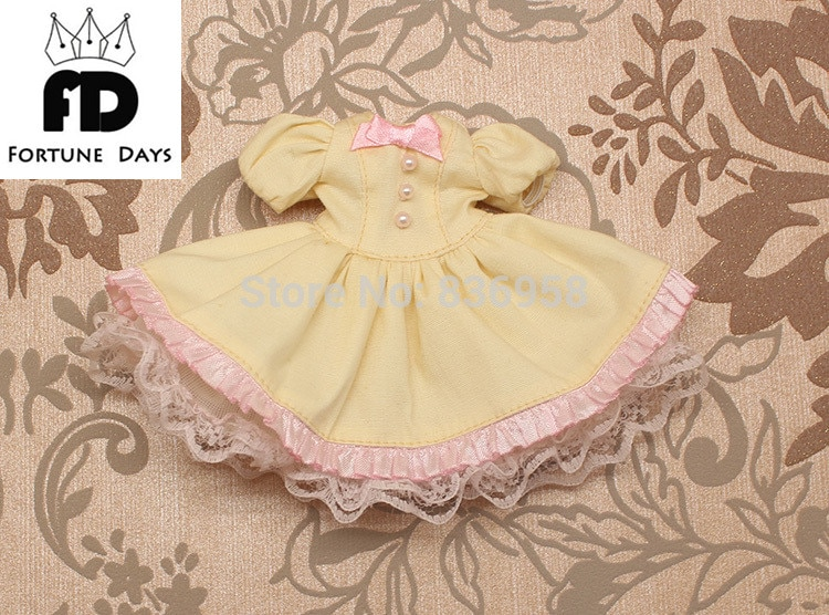 Vestido de Traje 3 blyth muñeca Blyth ropa vestido amarillo de encaje lazo rosa
