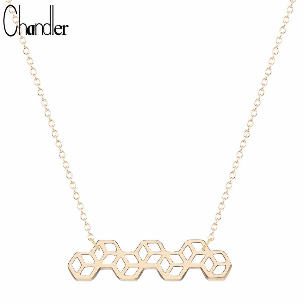 Collar y colgante de química de cuadrados de cubo pequeño de Chandler, cadena geométrica de clavícula para el cuerpo, collar de Paz de moda