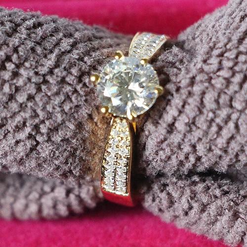 خاتم خطوبة من الذهب الأصفر الصلب عيار 18 قيراطًا مرصع بالألماس والكربون ، مجوهرات G18K للنساء