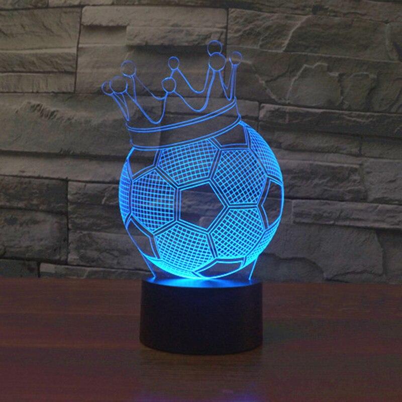 Quarto 3D luz da noite mágica ilusão decorativa Crown futebol lâmpada quente levou USB lâmpada de mesa