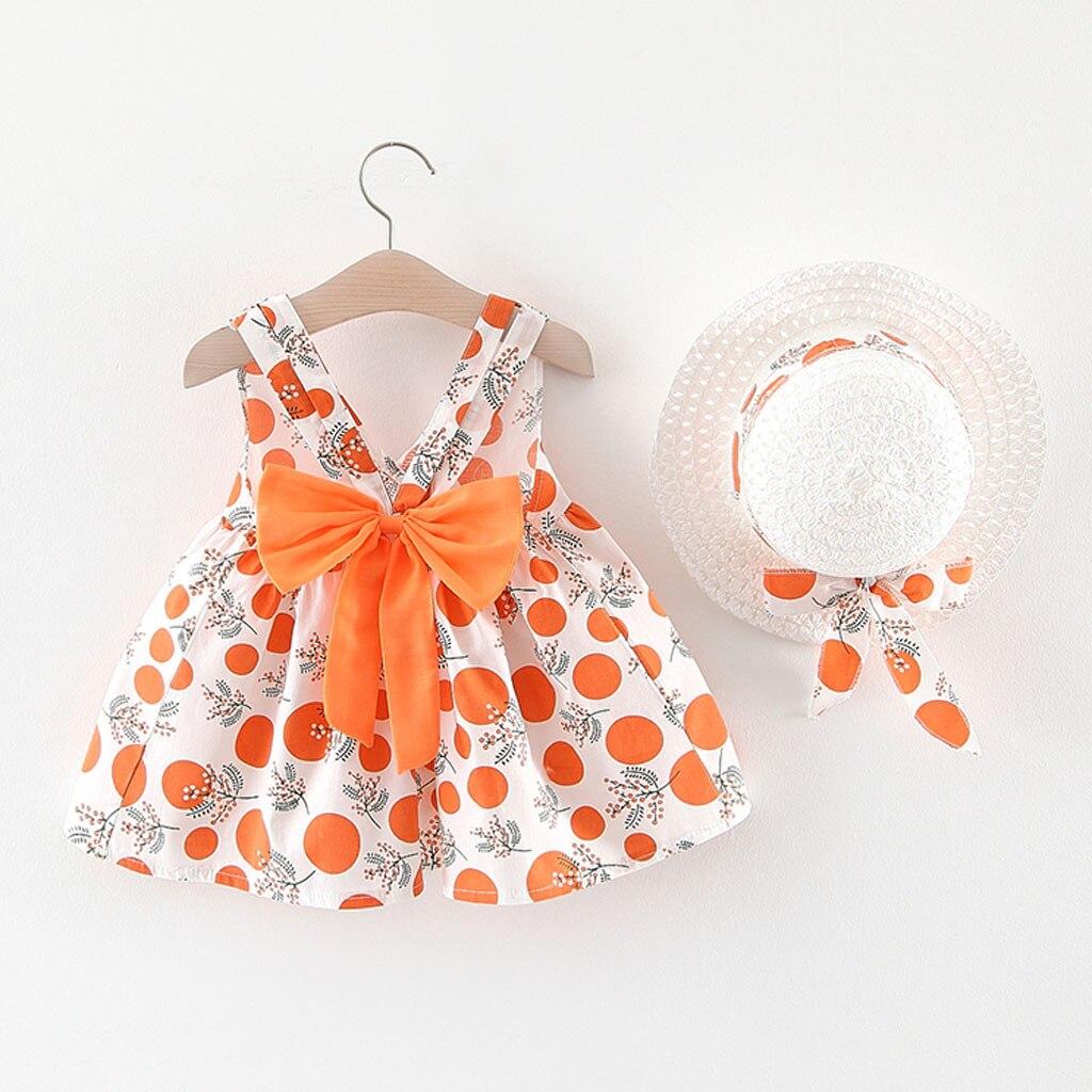 MUQGEW, vestidos infantiles para niñas pequeñas, bebés, niñas, sin mangas, Correa con estampado de puntos, vestidos de princesa del arco, sombrero, vestido infantil